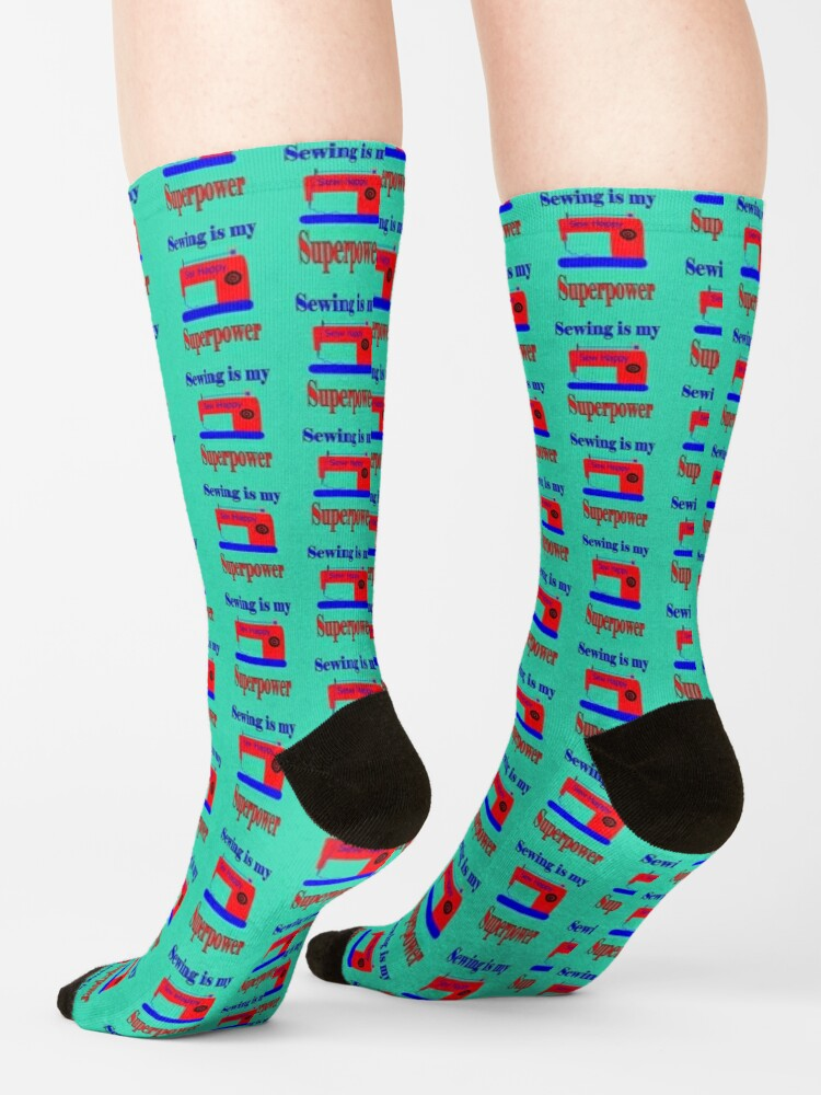 Alternate view of Sewing is my superpower,sew happy Socks