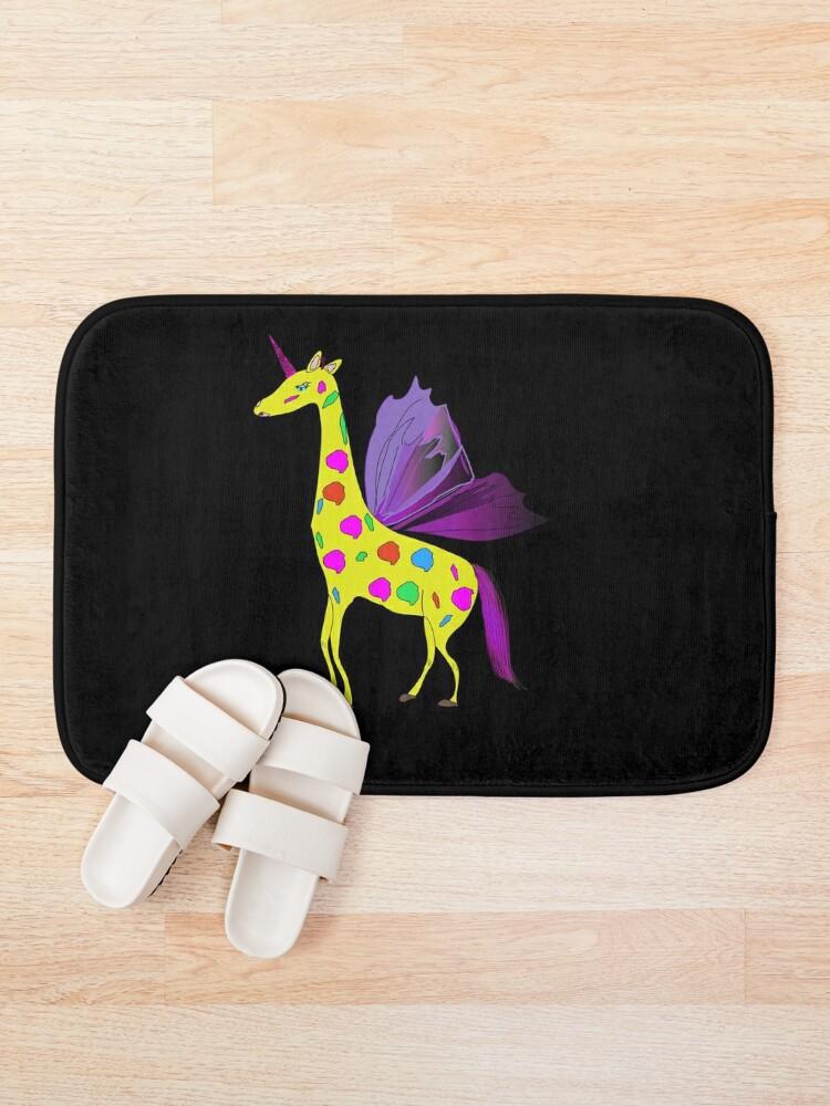 Alternate view of Giraffe Unicorn the mythical creature Bath Mat