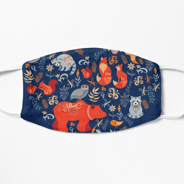 Fairy-tale forest. Fox, bear, raccoon, owls, rabbits, flowers and herbs on a blue background. Flat Mask