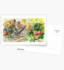Rhinoceros Liebe und freundliche Beobachter zusammen! Postkarten