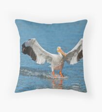 Pelican Coming in for the Landing Throw Pillow