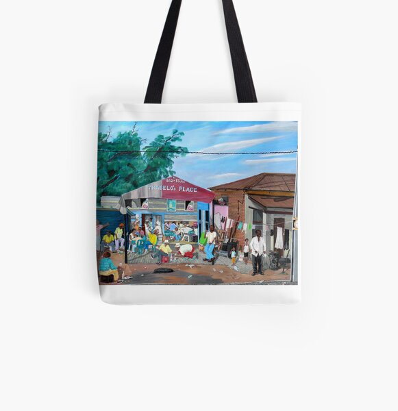 Tommy Machaba - Over at the Shebeen All Over Print Tote Bag