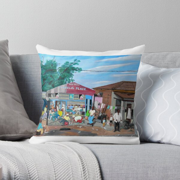 Tommy Machaba - Over at the Shebeen Throw Pillow