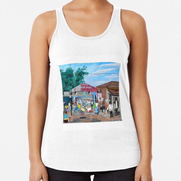 Tommy Machaba - Over at the Shebeen Racerback Tank Top