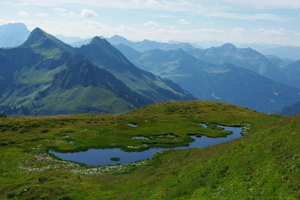 Mountain pond with a view near Furkajoch, Austria by Claudio Del Luongo