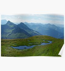 Mountain pond with a view near Furkajoch, Austria Poster