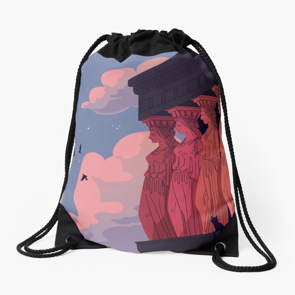 Caryatids at Dusk Drawstring Bag