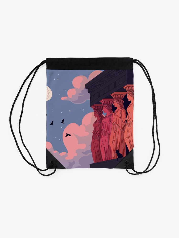 Alternate view of Caryatids at Dusk Drawstring Bag
