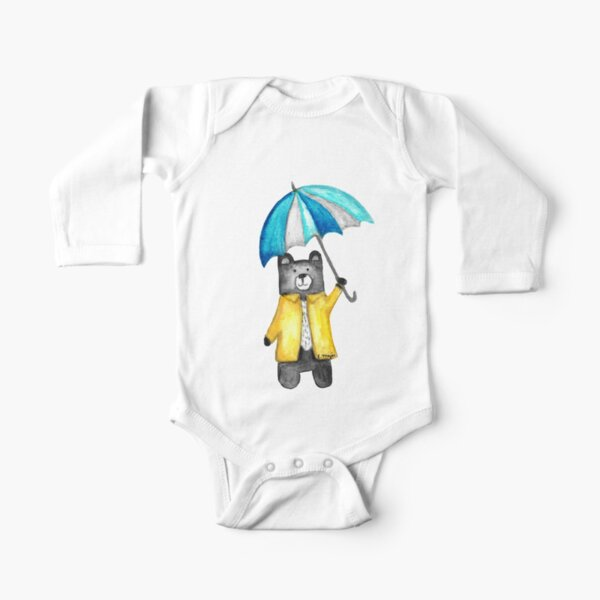 Bear in the Raincoat Watercolour Tatra Cottage Long Sleeve Baby One-Piece