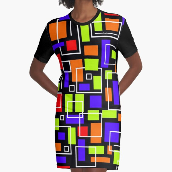 Scattered Squares Graphic T-Shirt Dress