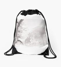 Totoro sumi-e Drawstring Bag