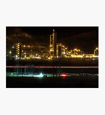 Cement Plant at Night Photographic Print