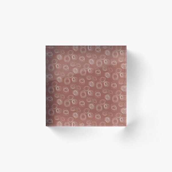 Swirl Lines 6 | Terracotta and White Pattern Acrylic Block