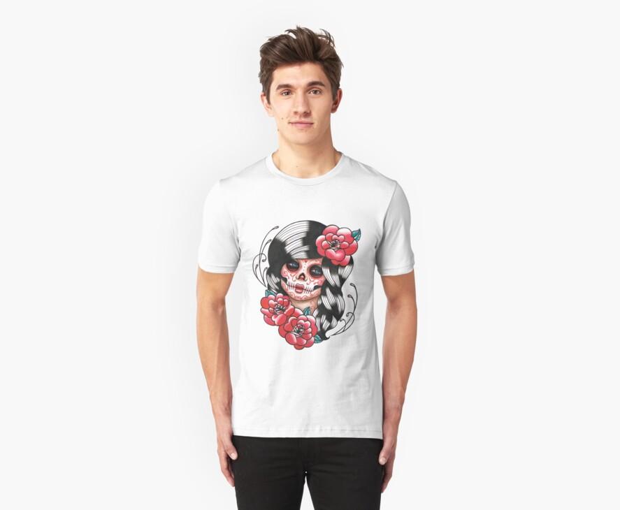Day of the Dead Sugar Skull Girl Tattoo Flash Shirt by MissCarissaRose