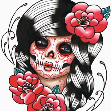 Day of the Dead Sugar Skull Girl Tattoo Flash Shirt by MissCarissaRose