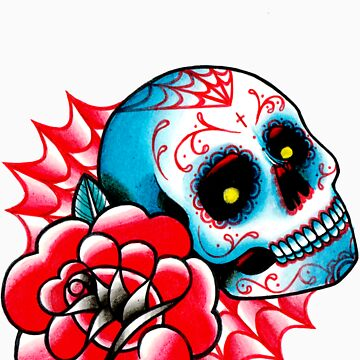 Old School Sugar Skull and Rose Tattoo Flash by MissCarissaRose