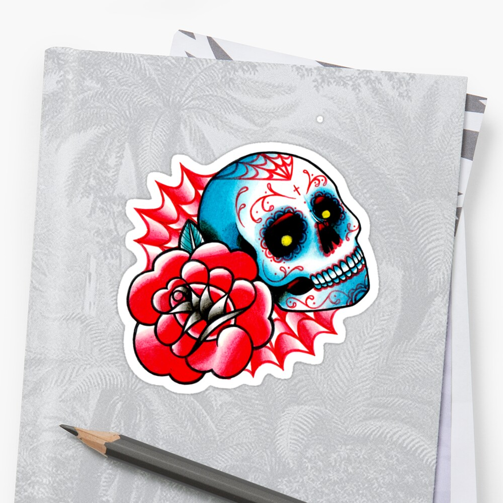 Old School Sugar Skull And Rose Tattoo Flash Stickers By