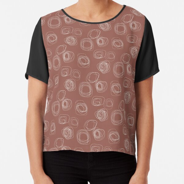 Swirl Lines 6 | Terracotta and White Pattern Chiffon Top