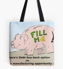 Piggybank business comic strip panel Tote Bag