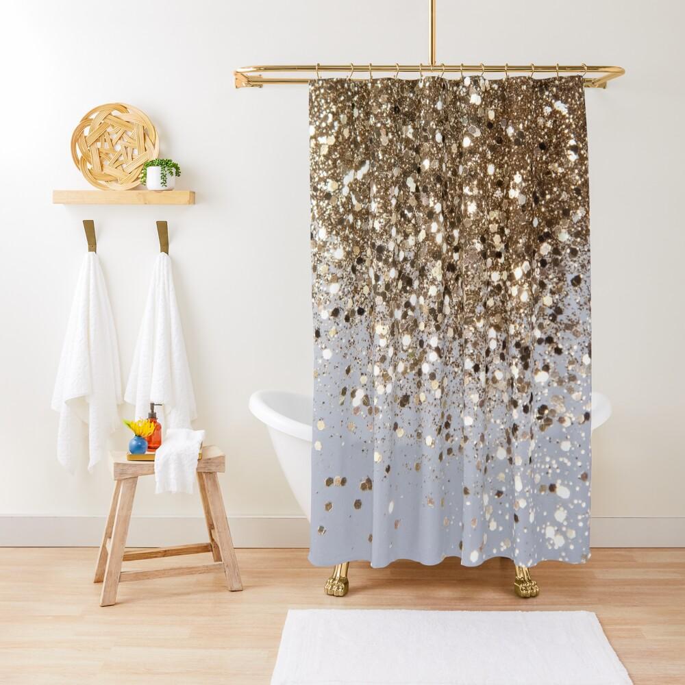 Sparkling Champagne Gold Glitter Glam #1 (Faux Glitter) #shiny #decor #art  Shower Curtain