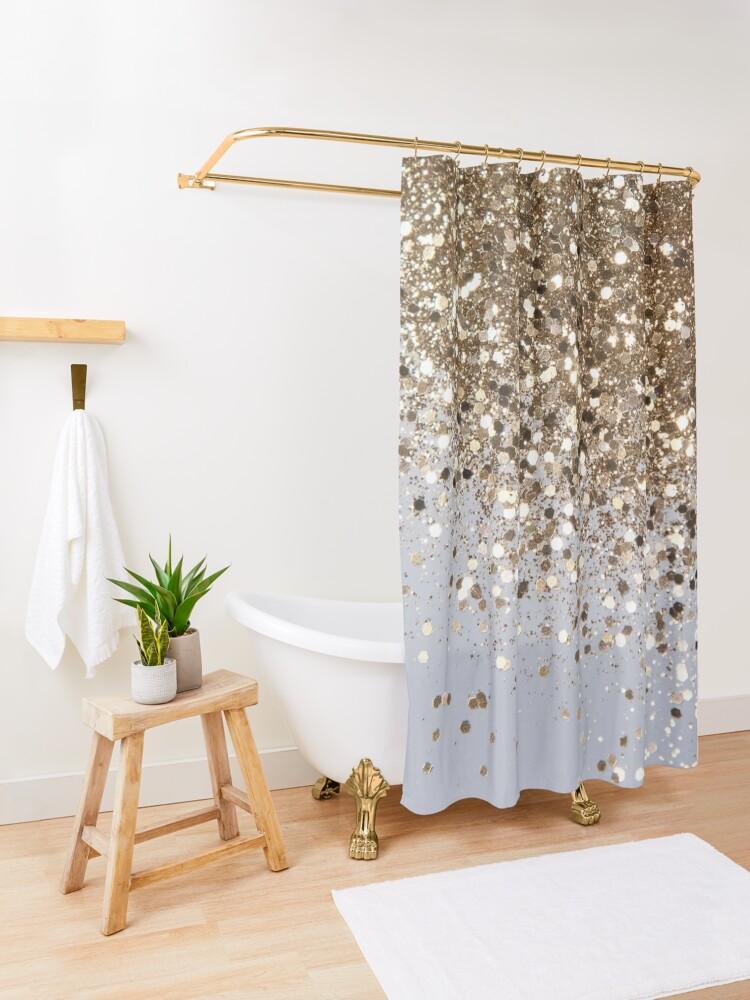 Alternate view of Sparkling Champagne Gold Glitter Glam #1 (Faux Glitter) #shiny #decor #art  Shower Curtain