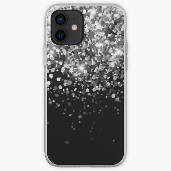 Silver Gray Black Glitter #3 (Faux Glitter - Photography) #shiny #decor #art iPhone Soft Case
