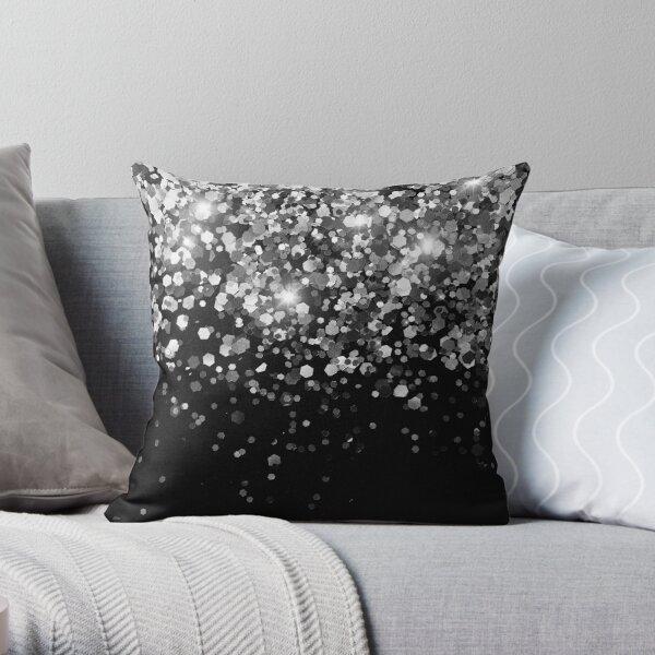 Silver Gray Black Glitter #3 (Faux Glitter - Photography) #shiny #decor #art Throw Pillow