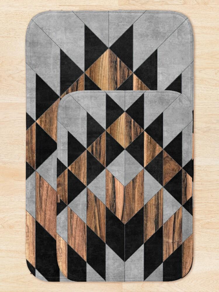 Alternate view of Urban Tribal Pattern No.10 - Aztec - Concrete and Wood Bath Mat