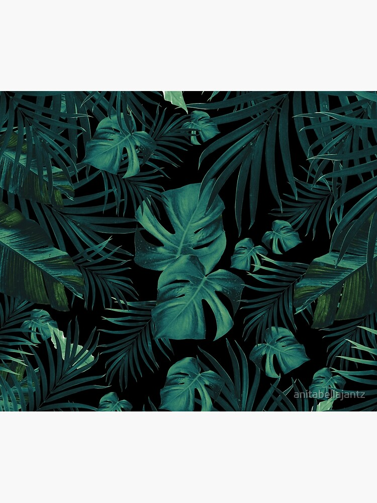 Tropical Jungle Night Leaves Pattern #1 (2020 Edition) #tropical #decor #art  by anitabellajantz