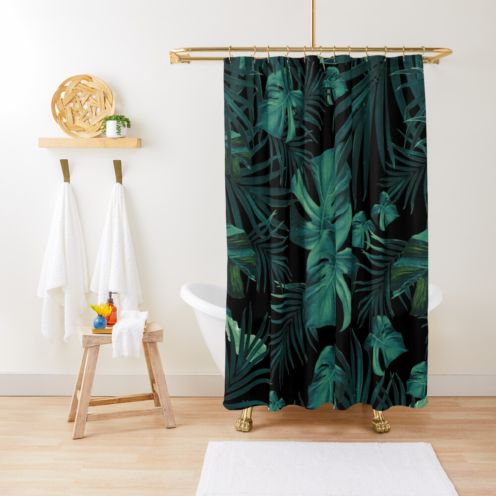 Tropical Jungle Night Leaves Pattern #1 (2020 Edition) #tropical #decor #art  Shower Curtain