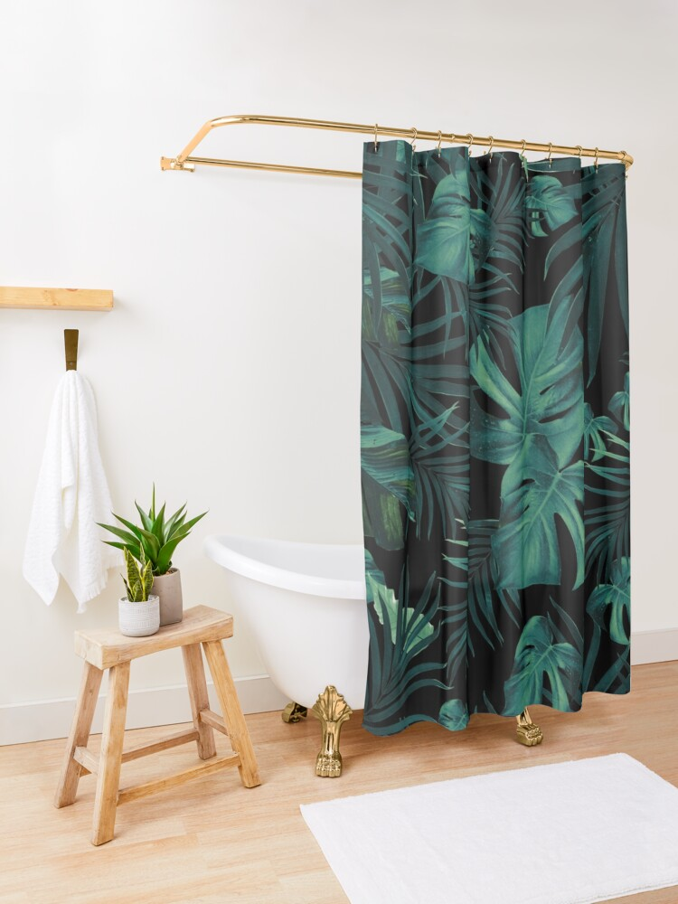 Alternate view of Tropical Jungle Night Leaves Pattern #1 (2020 Edition) #tropical #decor #art  Shower Curtain