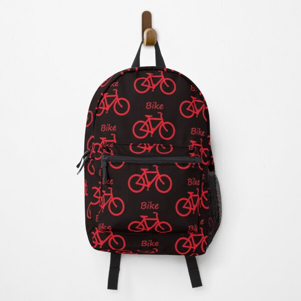 Red Bicycle Fitness Graphic Pattern Print Backpack