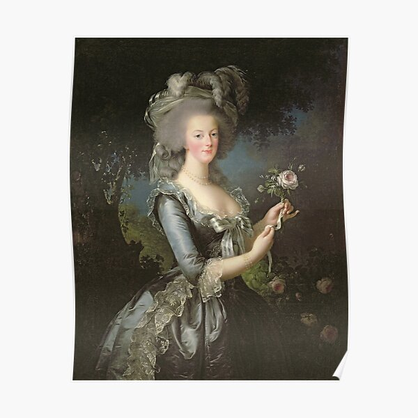 Elisabeth Louise Vigee - Lebrun - Marie Antoinette (1755 ) With A Rose Poster