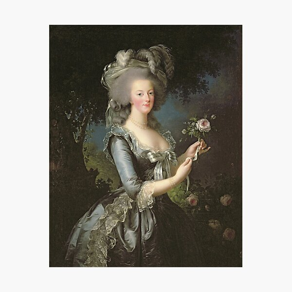 Elisabeth Louise Vigee - Lebrun - Marie Antoinette (1755 ) With A Rose Photographic Print