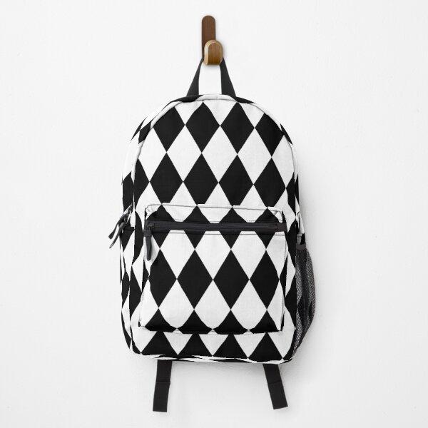 Black And White Rhombus Diamonds Pierrot Circus Clown Geometric Style Backpack