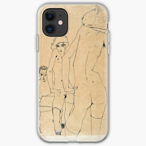 Egon Schiele - Schiele With Nude Model Before The Mirror, 1910 iPhone Soft Case