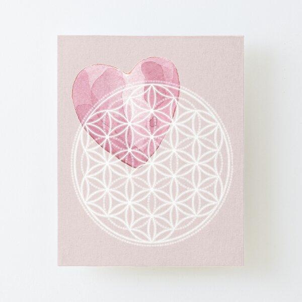 Blume des Lebens mit Aquarell-Herz - Heilige Geometrie Aufgezogener Druck auf Leinwandkarton