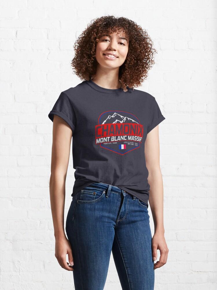 Alternate view of Retro Ski Chamonix Mont Blanc France Skiing and Mountain Biking Paradise Classic T-Shirt