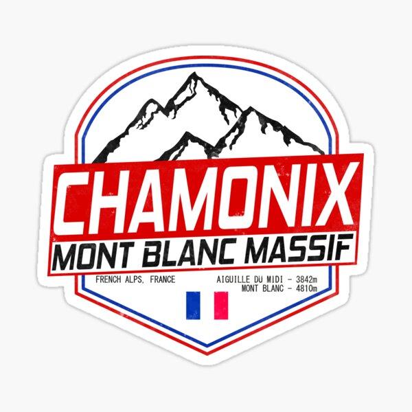 Retro Ski Chamonix Mont Blanc France Skiing and Mountain Biking Paradise Sticker