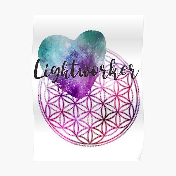 Blume des Lebens - Heilige Geometrie - Lichtarbeiter-Kosmisches Herz Poster