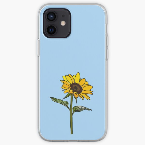 Aesthetic Sunflower on Light Blue iPhone Soft Case