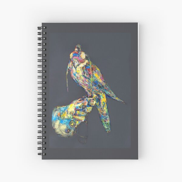Hawk with hood on gray Spiral Notebook