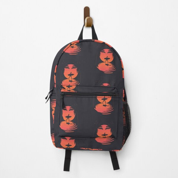 Summer poster with walking surfer silhouette sunset Backpack