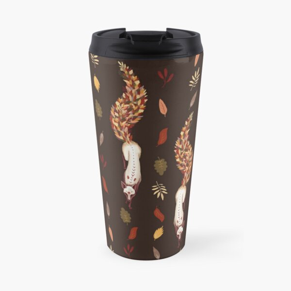 Autumn fox with tail of leaves. fallen leaves Travel Mug