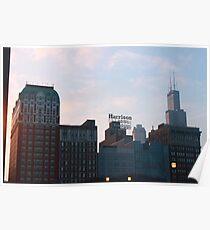 Sunset over Chicago Poster