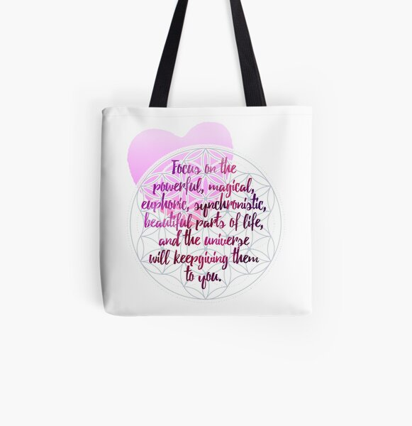 Camiseta esotérica - Flor de la Vida con Corazón de Acuarela - Geometría Sagrada - Decir Allover-Print Tote Bag