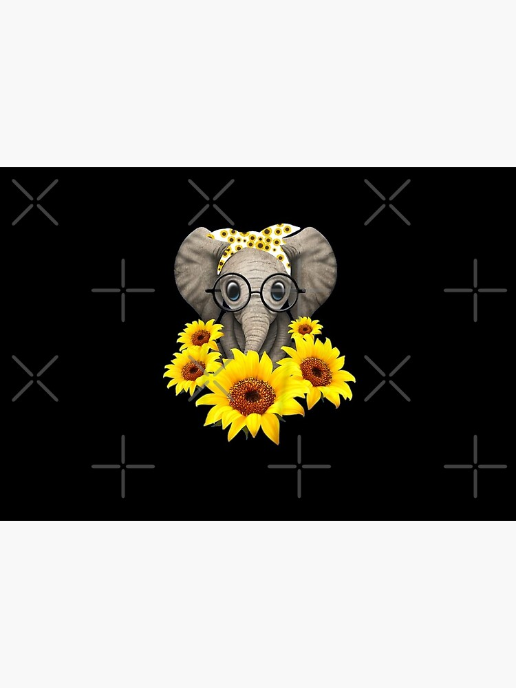 Cute Baby Elephant sunflower Glasses by DigitalPrint101