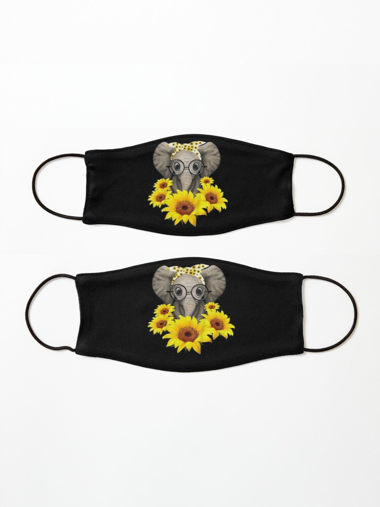 Alternate view of Cute Baby Elephant sunflower Glasses Mask