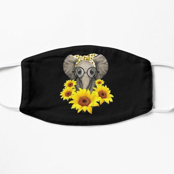 Cute Baby Elephant sunflower Glasses Flat Mask