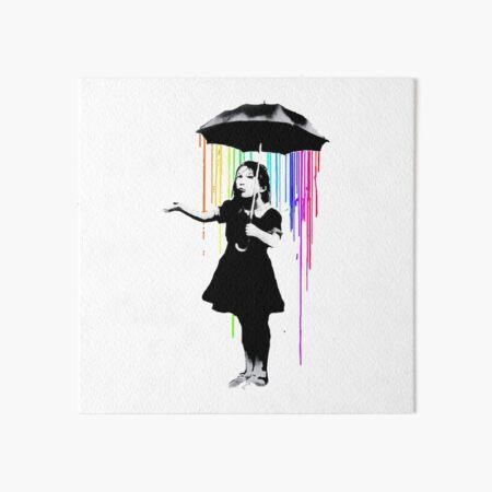 BANKSY Girl Rainbow Rain Umbrella Art Board Print